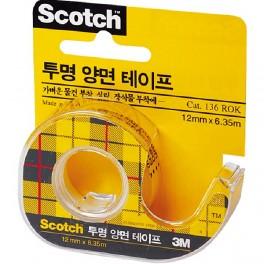 스카치 투명 양면테이프(136/12mm*6.35M)